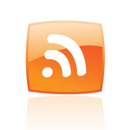 blogged: Glossy rss in orange button isolated on white Stock Photo