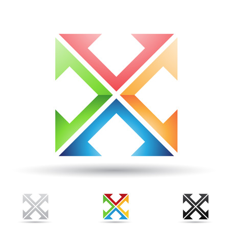 interchange: Vector illustration of abstract icons based on the letter X