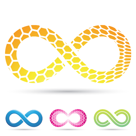 mobius strip: Vector illustration of Infinity Symbols with Honeycomb pattern Stock Photo