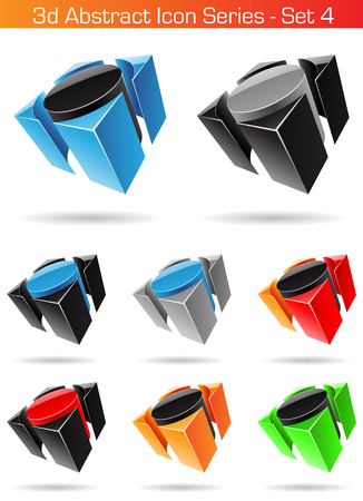 icon series: Vector EPS illustration of 3d Abstract Icon Series - Set 4