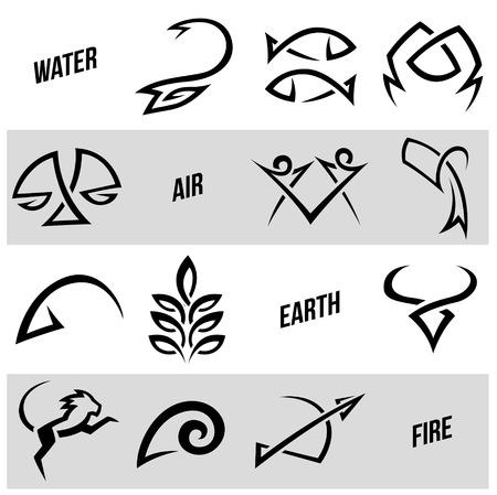 simplistic: Vector Illustration of Simplistic Zodiac Star Signs Stock Photo