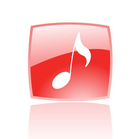 semiquaver: Glossy musical note in red button isolated on white
