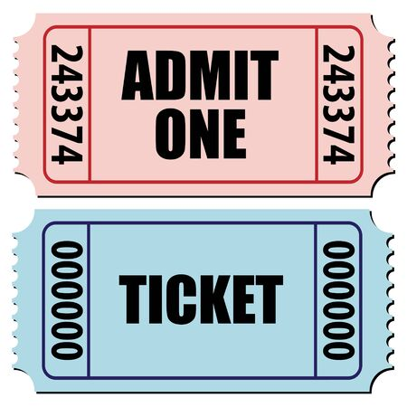 entry numbers: vector illustration of a pair of tickets isolated on white