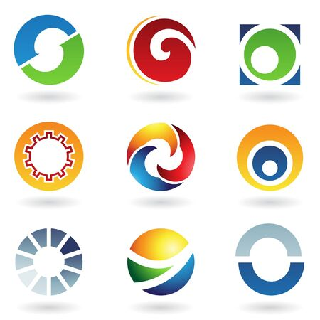 circular arrow: Vector illustration of abstract icons based on the letter O
