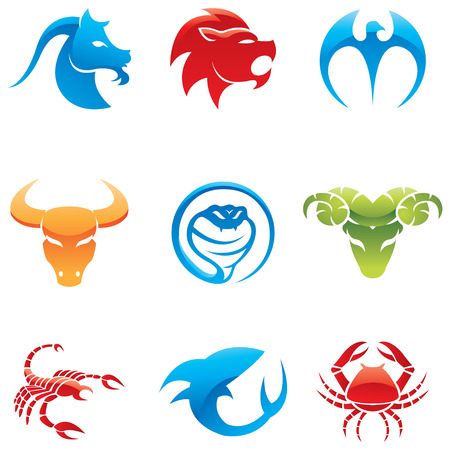 bull shark: Glossy icons of 9 different animals in various colors