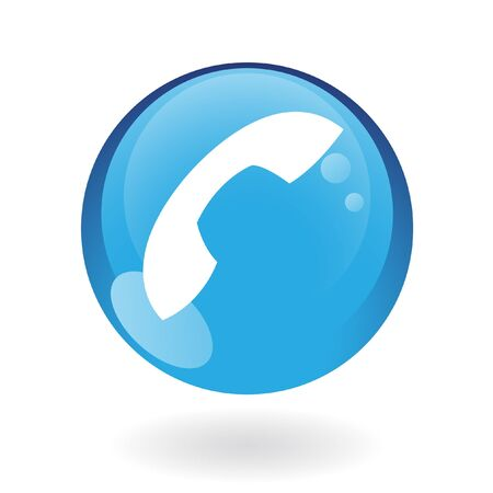 phone button: Glossy phone in blue button isolated on white