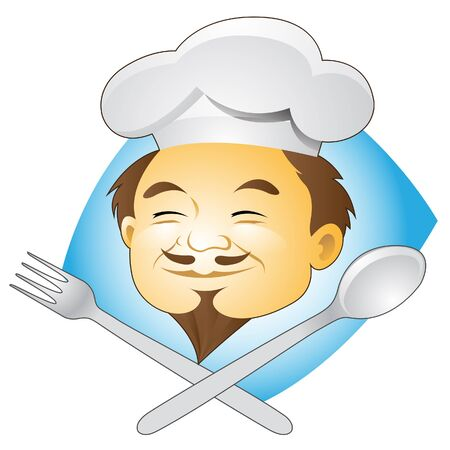 Vector Illustration of Smiling Chef with Cutlery