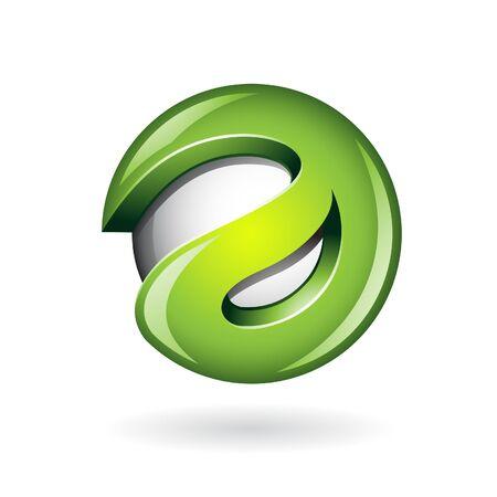 globe logo: Round Glossy Letter A 3d Green Logo Shape Vector Illustration
