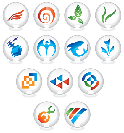 button grass: icons in round glass spheres Stock Photo