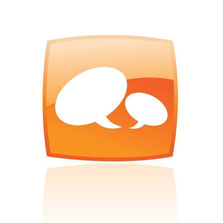 dialogo: Brillante discurso burbujas en el botón naranja aislados en blanco  Foto de archivo