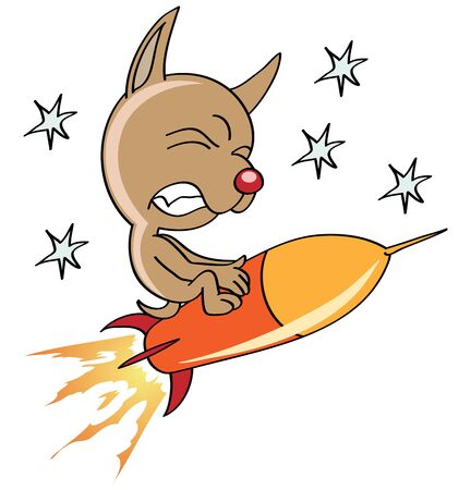 frenzy: space dog flying on a rocket
