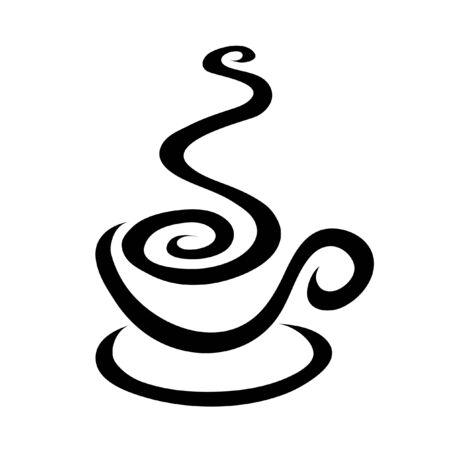 espresso: Line art coffee isolated on white