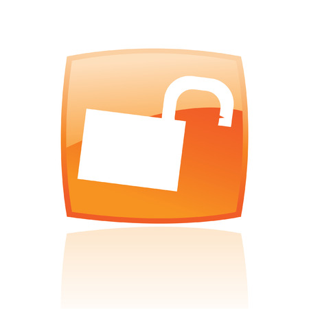 Glossy open padlock in orange button isolated on white