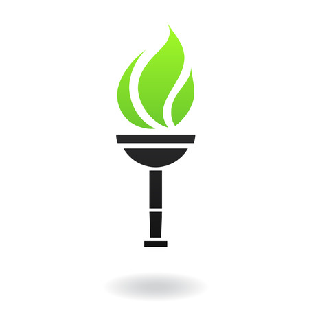 torch: Ancient green and black torch isolated on white Stock Photo