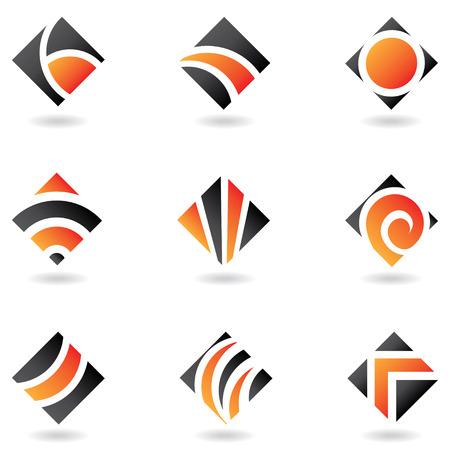 abstract, orange diamond icons isolated