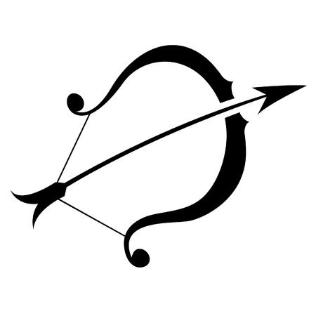 Illustration of Black Sagittarius Zodiac Star Sign isolated on a white background