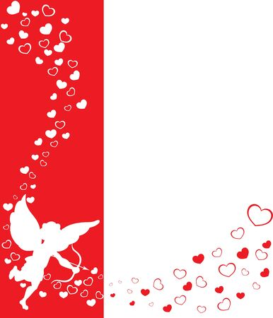 eros: love angel eros on a red background with hearts Stock Photo
