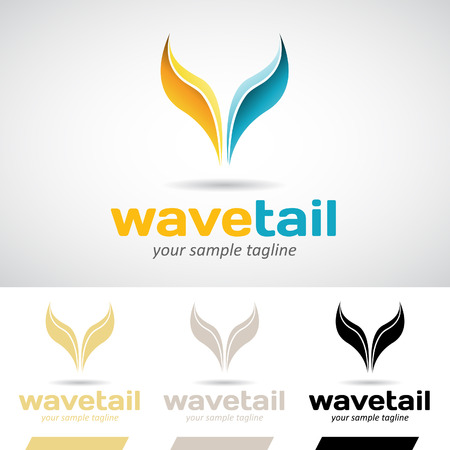 fish tail: Yellow and Blue Fish Tail Logo Icon Vector Illustration