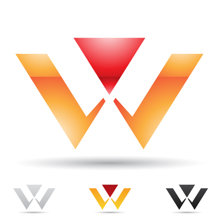 Vector illustration of abstract icons based on the letter W Stock Photo