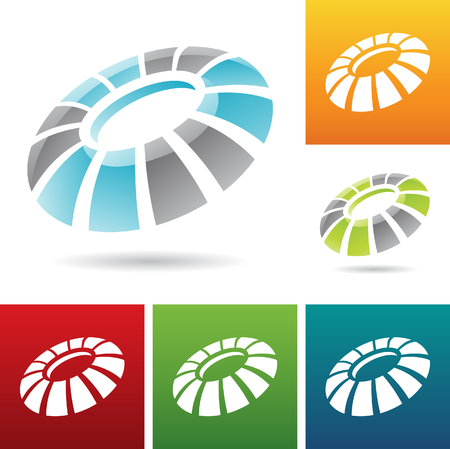 revolving: vector illustration of revolving round abstract icons Stock Photo