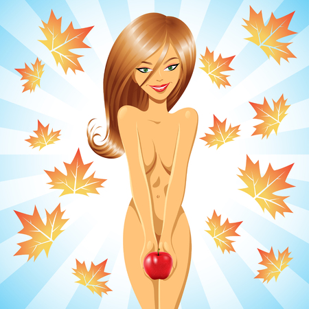 sinner: Eve smiling and holding a red apple with autumn leaves Stock Photo
