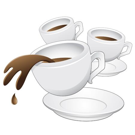 Vector illustration of Coffee Cups in motion