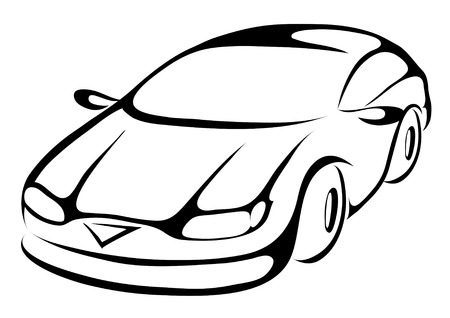 transportation silhouette: stylized cartoon icon of a sports car Stock Photo