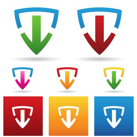 windows 8: vector illustration of a safe download shield icon Stock Photo