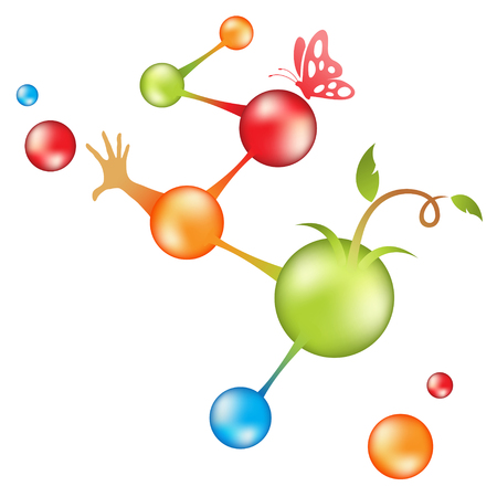 origins: dna molecules and origins of life vector illustration