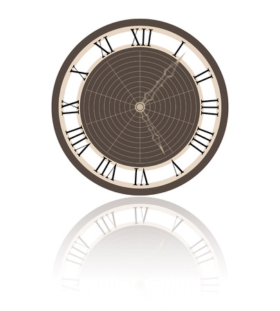 past midnight: vector illustration of a clock and its reflection Stock Photo