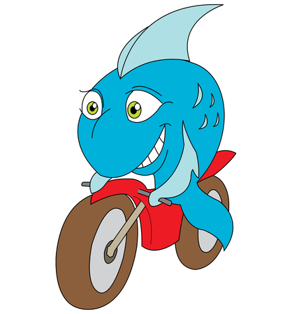 smilling: vector illustration of a fish riding a motorbike