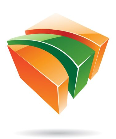 Abstract cubic logo icon and graphic design Stock Photo
