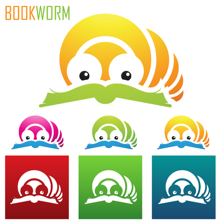 book worm: vector eps illustration of book worm icons