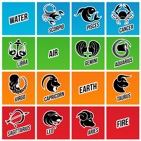 set symbols: Vector Illustration of Zodiac Star Signs with Sticker like Designs Stock Photo