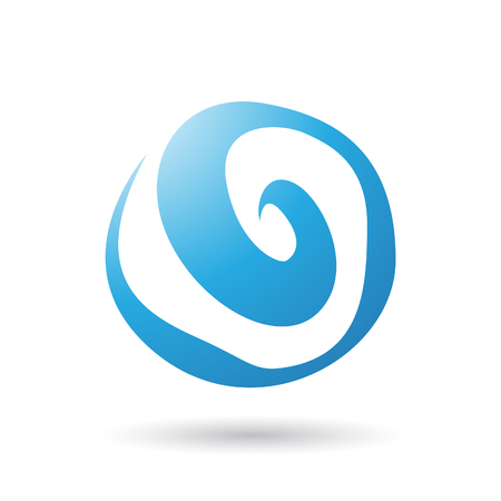 abstract swirl: Blue Swirl Abstract Icon Illustration isolated on a white background