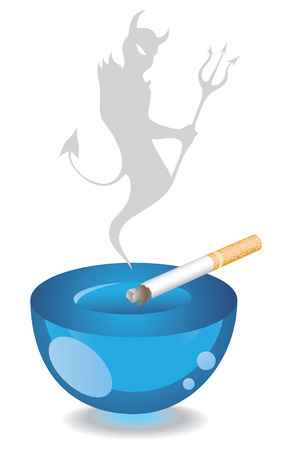 fag: Ashtray, Cigarette and the devil