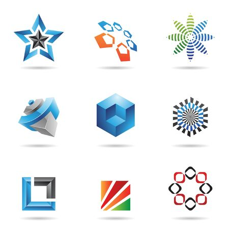 blue lines: Various colorful abstract icons isolated on a white background