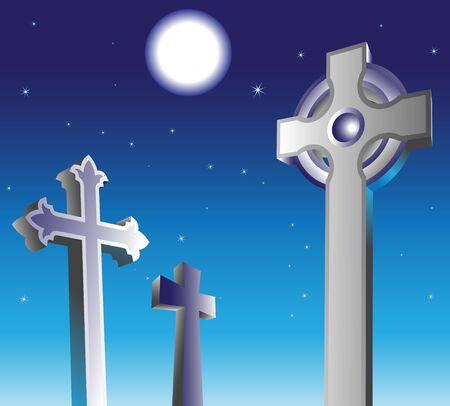 mortal: full moon and graveyard at night