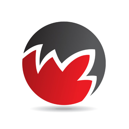round logo: Red round logo icon and design element