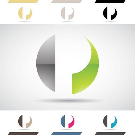 Design Concept of Colorful Stock Logos Icons and Shapes of Letter P, Vector Illustration Stock Photo