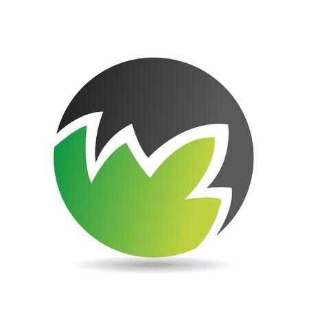 round logo: Green round logo icon and design element