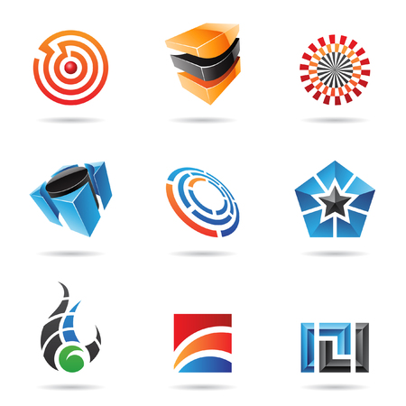 pentagon: Various colorful abstract icons isolated on a white background