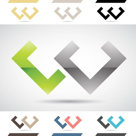 stock clipart icons: Design Concept of Colorful Stock Logos Icons and Shapes of Letter W, Vector Illustration Stock Photo