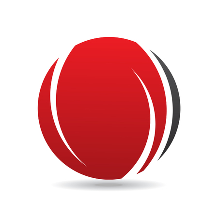 black circle: Red round logo icon and design element