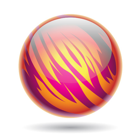 abstract fire: Illustration of Magenta and Yellow Planet Sphere isolated on a white background Stock Photo