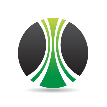 industrial drawing: Green round logo icon and design element