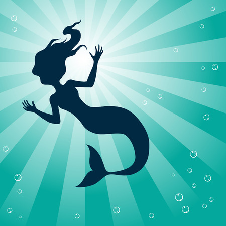 gill: Illustration of Mermaid Underwater isolated on a white background