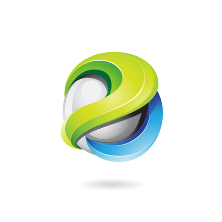 has: Vector illustration of a 3d glossy logo shape in green, blue and grey colors (vector version has a transparent shadow)