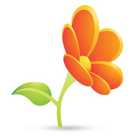 Illustration of Orange Flower Icon isolated on a white background