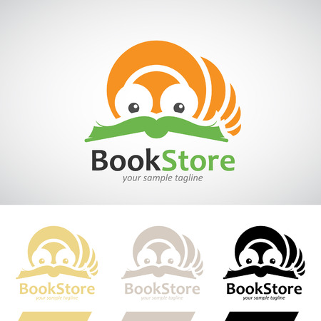 book worm: Book Worm Reading a Book Logo Icon Vector Illustration